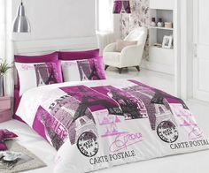 Amazon.com - 100% Cotton 4pcs Paris Vintage Purple Full Double Size Duvet Cover Set Eiffel Theme Bedding Linens -