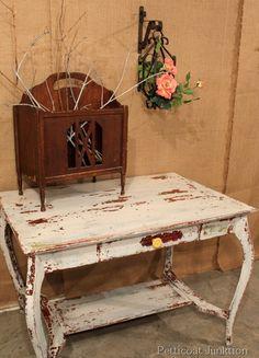 MMS Milk Paint Table, Petticoat Junktion- layer the paint colors- great idea