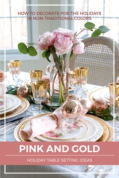 Looking to create an elegant Christmas table setting? Check out these holiday entertaining ideas using pink and gold | #Designthusiasm
