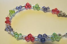 Heart Swarovski Bracelet PurpleGreen and Rose by CASSELIZADESIGNS, $28.00