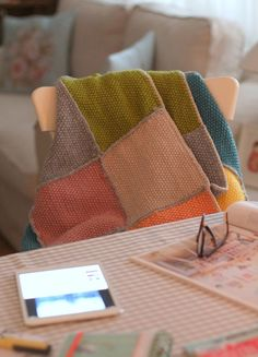Lovely knitted patchwork blanket at cafe noHut