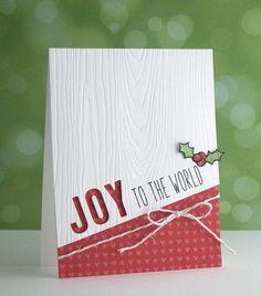 handmade Christmas card: Joy by Lawn Fawn Design Team ... white with woodgrain embossing ... negative space JOY ... sweet print paper ... fresh look ...