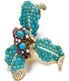 Amethyst, turquoise and diamond Orchid brooch, Cartier, circa 1960