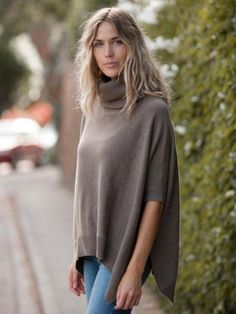 100% Cashmere Ribbing Gray-Brown Poncho Cashmere Poncho, Photo Pin, Brown And Grey, Gray, Daily Wear, Get The Look, Fashion News, What To Wear, Dressing