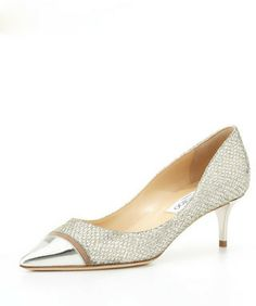 Jimmy Choo Anejo Low-Heel Glitter Pump, Champagne/Silver on shopstyle.com