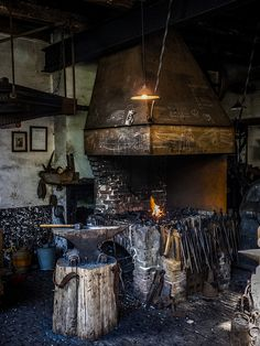"Blacksmith's forge and anvil in old cob workshop  - image for vision board, novel ""Legacy"" by Jesikah Sundin"