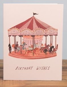 Carousel Wishes | Red Cap Cards | Illustrated greeting card by Becca Stadtlander #birthday