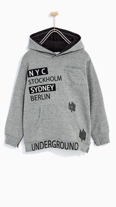 Discover the new ZARA collection online. Fashion Kids, Kids Winter Fashion, Men's Fashion, Boys Hoodies, Boys Shirts, Sweat Shirt, Baby Boy Outfits, Kids Outfits, Baby Kids Wear