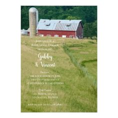 Red Barn and Silo Farm Wedding Rehearsal Dinner Card - country wedding gifts marriage love couples diy customize