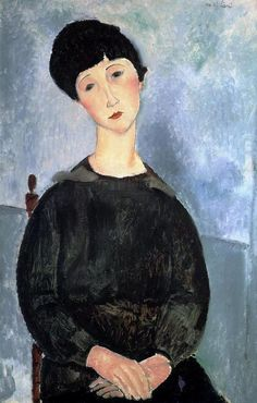 Stretched Canvas Print: Jeune Fille Brune Assise Canvas Art by Amedeo Modigliani : Amedeo Modigliani, Modigliani Paintings, Oil Paintings, Italian Painters, Italian Artist, Portraits, Portrait Art, Oil Painting Reproductions, Painting Edges