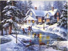 A Fine Winter's Eve by Nicky Boehme from the Winter Art Prints Collection at Canvas On Demand. Contemporary artwork of children skating on a frozen pond in front of a house after a snowfall. Vintage Christmas Cards, Christmas Images, Christmas Art, Winter Christmas Scenes, Beautiful Christmas Pictures, Winter Scenes To Paint, Beautiful Winter Scenes, Christmas Scenery, Winter Szenen
