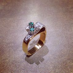 Custom Emerald and Diamond ring designed by Jim Omori #jewellery #jewelry #gemstones #gem #design #diamonds #art #love #winnipeg #canada