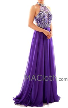 Halter A Line Crystals Chiffon Purple Long Prom Dress with Court Train  160120. Purple Grad DressesGraduation ... 42823ec68389