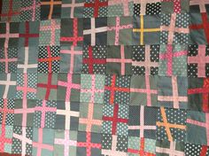 Patchworkdecke, Quilt, Wonky Cross