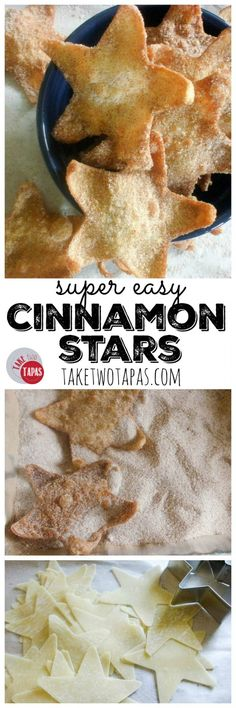 These super easy Cinnamon Stars are made from won ton wrappers and tossed in a cinnamon sugar mixture to add a touch of sweetness! Super Easy Cinnamon Stars…