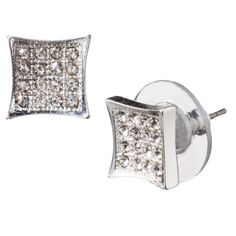 Square Diamond Pave Earrings - Silver