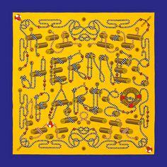 Carré 70 en soie vintage CORDAGES. #Hermes #Silk #Yellow