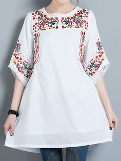 Women Embroidered Half Sleeve O-Neck Loose Vintage Blouses