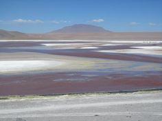 Red Lagoon meets Salt flats Sea Level, Bolivia, Worlds Largest, Salt, Mountains, Red, Travel, Salar De Uyuni, Viajes