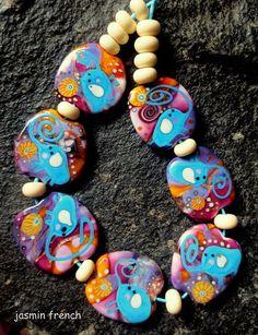 jasmin french  elephants crossing   lampwork beads set sra