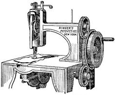 drawing of original sewing machine - created by Elias Howe