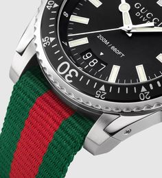 gucci dive extra large stainless steel and web watch Gucci Watches For Men, Watch Companies, Diving, Luxury Fashion, Stainless Steel, Fitness, Scuba Diving
