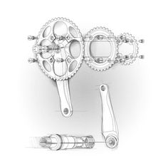 Sketch style technical illustrations bicycle crank and chain rings