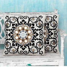 """18""""- inch sq. Decorative Chic Slip Cover 18-inch Square Throw Pillow, For Buroq Dark Grey Master Bedroom Love seat. Needs some fun bright colors!  """"Set of 2"""".. Handcrafted -Jaipur Blossom' Cushion Covers , Handmade."""