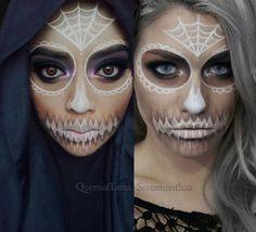 """A side by side of my recreation of @ssssamanthaa's sugar skull makeup. Hot. Damn. She's effing gorgeous. . #ssssamanthaa #batalash #sugarskull…"""