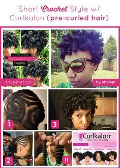 Short Crochet Style Install with Curlkalon Hair  Curlkalon| Protective style| Natural Hair| Marley Hair