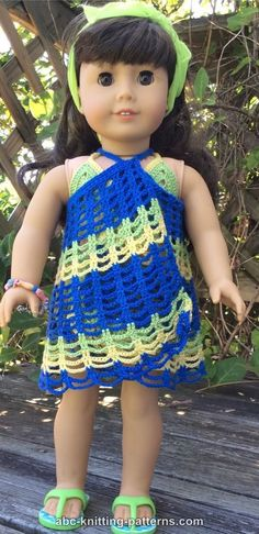 American Girl Doll Beach Cover-Up - http://www.abc-knitting-patterns.com/1439.html