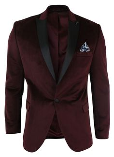 Mens Slim Fit 1 Button Velvet Blazer Tuxedo Dinner Jacket Maroon Burgundy Black | Clothes, Shoes & Accessories, Men's Clothing, Suits & Tailoring | eBay!
