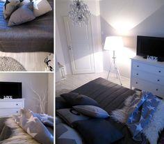 makuuhuone,harmonia,harmaa,vaalea,rauhallinen,valoisa,sänky,televisiotaso,lakanat,petaus