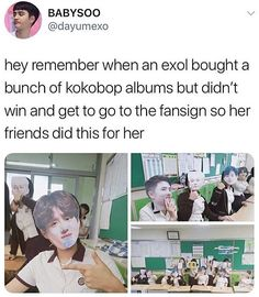 An Exo-l didn't win to go to a fansign so her friends made one for her instead 😁😂😂😂 Chanbaek, Exo Ot12, Kaisoo, I Need Friends, Find Friends, Kpop Memes, Funny Memes, Chanyeol, Shinee