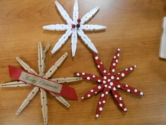 "Clothespin Snowflakes {Handmade Ornament clothespin snowflakes - one of our ""make and takes"" Christmas Ornaments To Make, Christmas Crafts For Kids, Homemade Christmas, Christmas Projects, Holiday Crafts, Christmas Gifts, Christmas Decorations, Kids Crafts, Craft Stick Crafts"