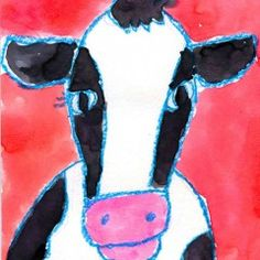 Watercolor Cow Face - Art projects for kids, page of student work, click on one for more info