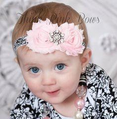 Baby headband, baby headbands, Pink headband,newborn headband,shabby chic headband, Easter Headband, infant headband,Baby Hair Bows.