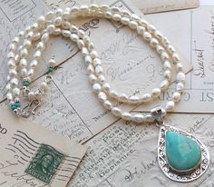 nice combination..turquoise and freshwater pearls...fresh water pearsl are very reasonably priced on line..