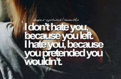 I don't hate you because you left