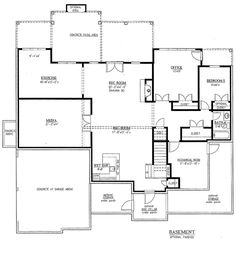 Traditional Style House Plan - 5 Beds 4.5 Baths 3187 Sq/Ft Plan #437-56 Floor Plan - Lower Floor Plan - Houseplans.com