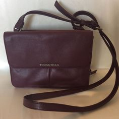 Find this Pin and more on Purses Handbags Backpacks Totes. Tignanello  Crossbody/Shoulder Bag Purse PURPLE LEATHER w/ Signature ...