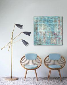 Original peinture abstraite  blanche  neige places par RonaldHunter, $339.00