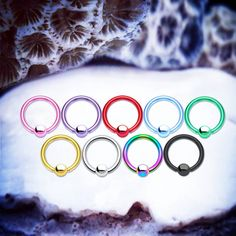 Simple Piercing Ring Captive Bead Ring  Rainbow by ThrowBackAnnie