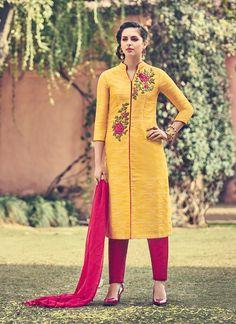 Grandiose Faux Chiffon Embroidered Work Churidar Designer Suit