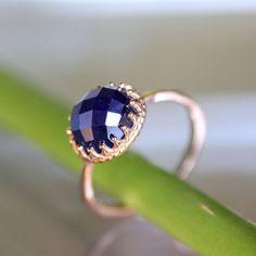 Checkerboard Cut Deep Blue Sapphire In 14K Rose von louisagallery, $580.00