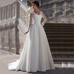 Lace Long Sleeve V Neck A Line Zipper Back Wedding Dresses Customized