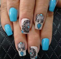 Image Image for mandala nails Fabulous Nails, Gorgeous Nails, Love Nails, Pretty Nails, Fun Nails, Cute Nail Art, Beautiful Nail Art, Tattoo Australia, Diy Ongles