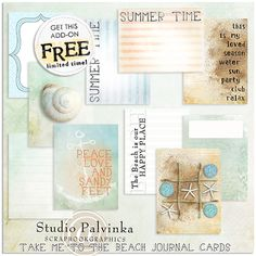 Free Take Me To The Beach Journal Cards from Palvinka Designs {store checkout required}
