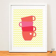 Coffee Art Print Kitchen Print Coffee Mugs Coffee by WordBirdShop Kitchen Prints, Kitchen Wall Art, Coffee Art, Coffee Mugs, Diy Stuff, Art Prints, Unique Jewelry, Handmade Gifts, Etsy