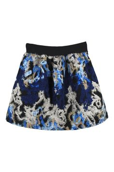 Love Love Love this Skirt! ROMWE | Sapphire Blue and Black Floral Print High-waisted Puff Skirt, The Latest Street Fashion #Sapphire #Blue #Black #Abstract #Art #Print #Skirt #Fashion